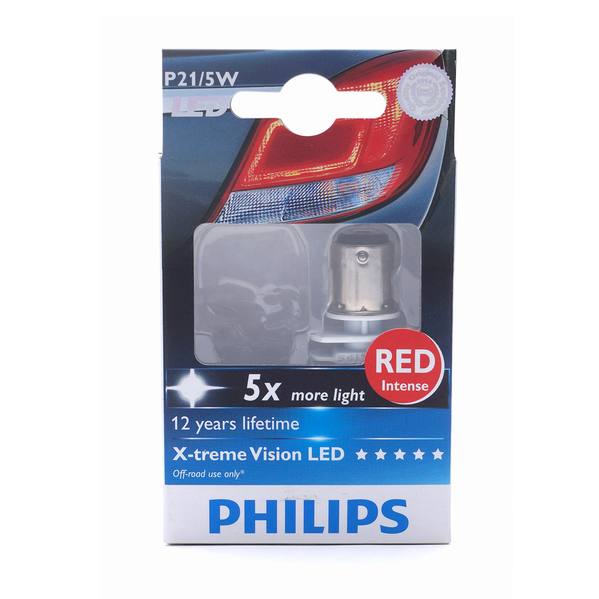 Автолампа светодиодная P21/5W 12/24V X-treme Vision LED Red intense (Philips)